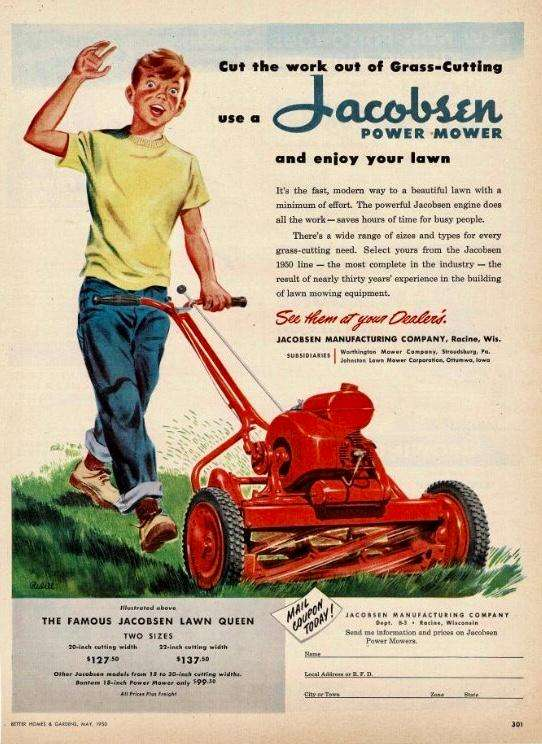 teenager mowing the lawn in a vintage advertisement